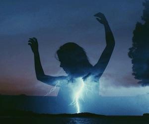 girl, lightning, and sky image