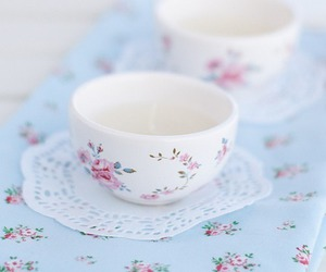 cup, floral, and tea image