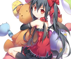 anime, anime girl, and stuffed animal image