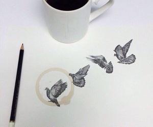 bird, art, and coffee image