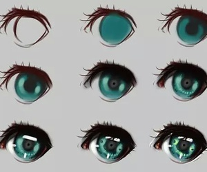 drawing, eyes, and anime image