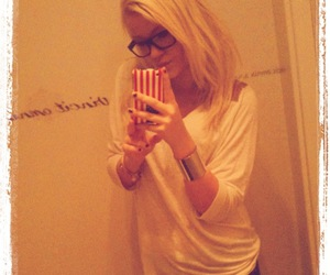 blonde, glasses, and iphone image