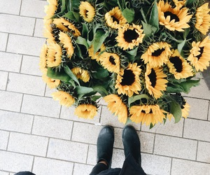 flowers, happy, and sunflowers image