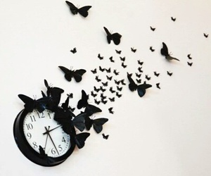 butterfly, clock, and diy image