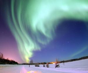 sky, snow, and northern lights image