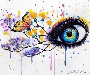 eye, art, and butterfly image