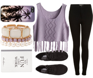 book, outfit, and purple image