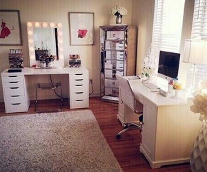 room, bedroom, and makeup image