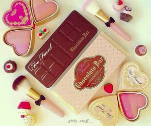 pink, chocolate, and makeup image
