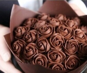 chocolate, rose, and food image