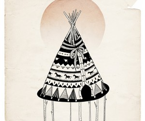 art, drawing, and teepee image