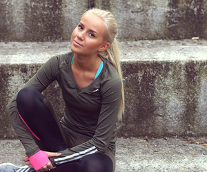 blonde, fitness, and girl image