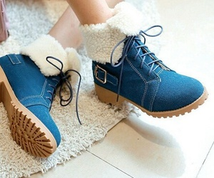 shoes, blue, and boots image