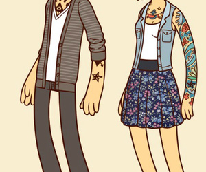 tattoo, couple, and glasses image