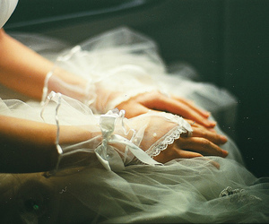 dress, wedding, and gloves image