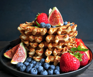 fruit, snack, and waffles image