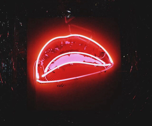 lips, red, and neon image