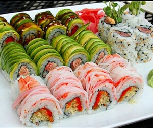 sushi, food, and fashion image