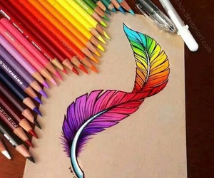 art, drawing, and feather image