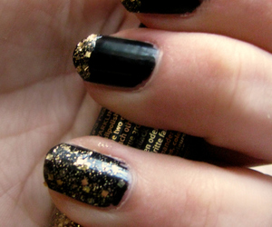 black, gold, and glitter image