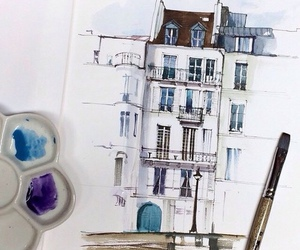 art, watercolor, and blue image