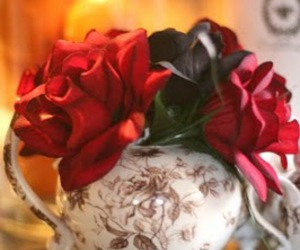 alice in wonderland, mad tea party, and black rose image