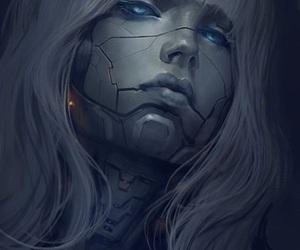 robot, woman, and art image