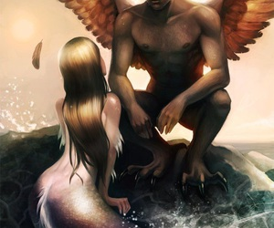mermaid, angel, and fantasy image