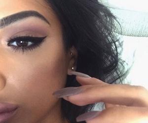 eyebrows, eyeliner, and purple image
