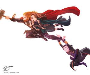 thor, loki, and Marvel image
