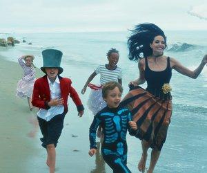 Angelina Jolie, family, and beach image