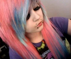 pink hair and scene girl image