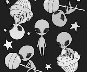 alien, stars, and cupcake image