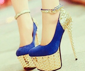 blue, shoes, and gold image