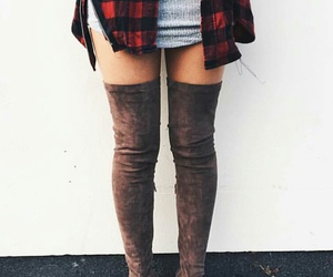 brown knee high boots, red plaid shirts, and dark grey knee high boots image