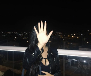 girl, night, and black image