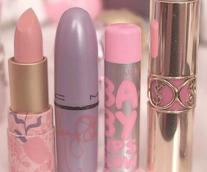 makeup, pink, and lipstick image