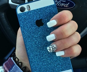 iphone, blue, and glitter image