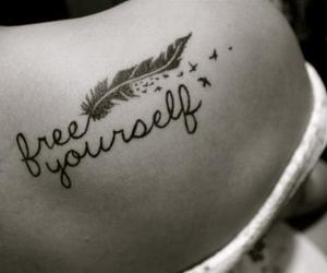 feather, tatto, and free yourself image