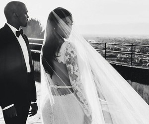 wedding, kim kardashian, and kanye west image