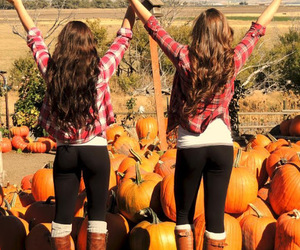 fall, girl, and friends image