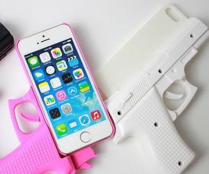 iphone, gun, and pink image