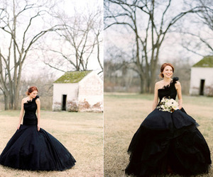 black, black dress, and bridal image