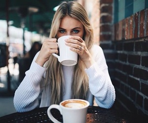 coffee, girl, and blonde image