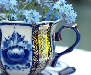 flowers, blue, and cup image