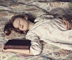 book, girl, and sleeping image