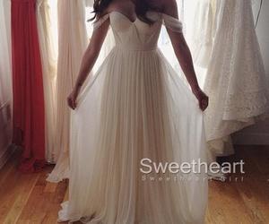 dress, prom dress, and white dress image