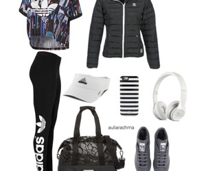 fashion, jogging, and Polyvore image