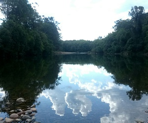 blue, clouds, and reflection image