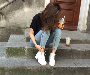 girl, grunge, and drink image